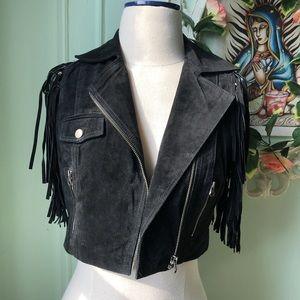 Bebe black suede cropped vest